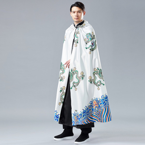 Chinese traditional style 2019 new vintage ancient chinese robes cloak Shawl kung fu robes mens trench coat jacket windbreaker
