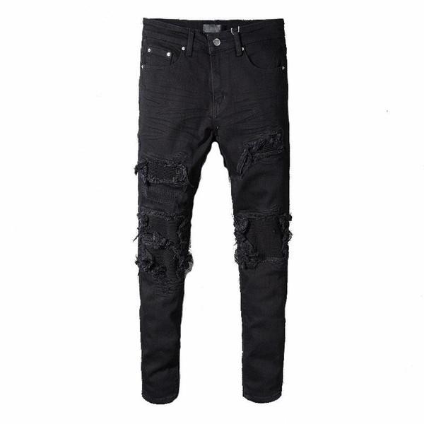 Miri gros-représentent un pantalon de créateurs de vêtements détruits hommes denim biker droite mince skinny jeans hommes jeans déchirés