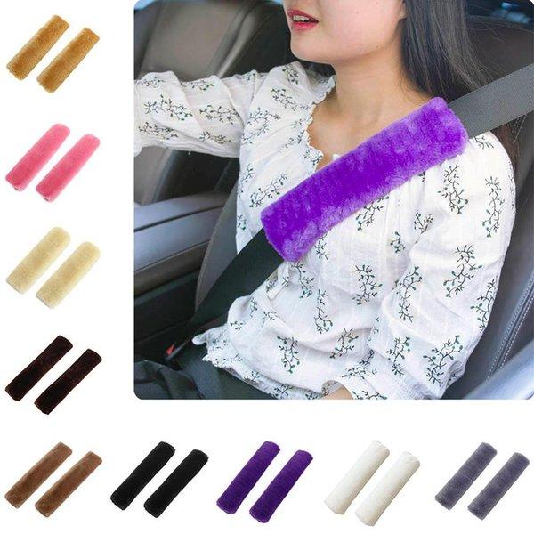 2pcs Soft автомобилей Seatbelt крышки овчины ремня Подушка Pad Ремень безопасности Ремень безопасности Обложка оплечье для сумки Автомобильные аксессуары