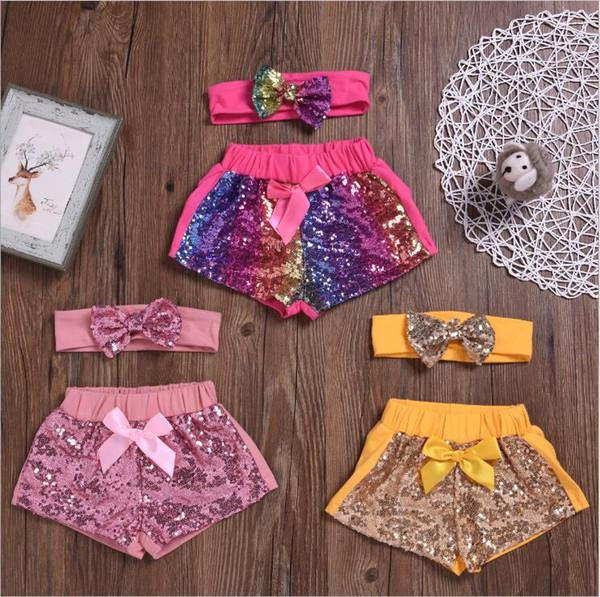 Kinder Designer Kleidung Mädchen Pailletten Shorts Stirnband Sets Baby Bowknot Glitter Hosen Boutique Dance Shorts Kostüm Casual Party Hosen B5902