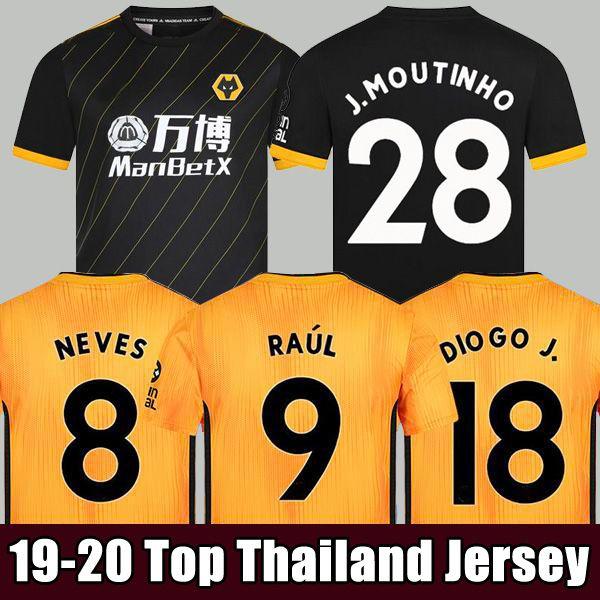 2019 2020 Wolves NEVES RAUL Maillot Domicile 19 20 Maillots de foot Wolverhampton Wanderers DIOGO J. Men + Enfants maillots de foot