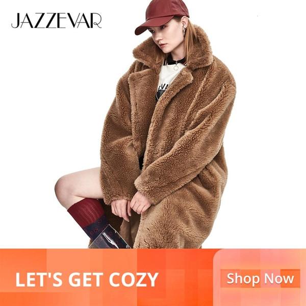 JAZZEVAR 2019 de invierno para mujer de nuevo de la manera del oso de peluche del icono Escudo X-Long real piel de las ovejas de gran tamaño Parka Prendas de vestir exteriores caliente grueso J8003 T191024