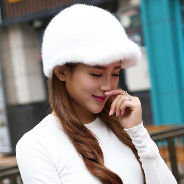 2018 Özel Teklif Katı Yeni Varış Kış Kürk Caps Orijinal Vizon Kadın Örme Kulak Şapka Ile Fox Topu Pom Poms Kadın Şapkalar # 220267