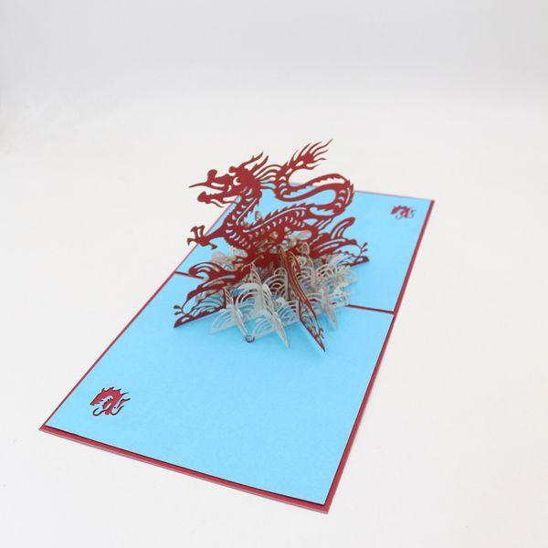 Heißer Verkauf 3D Chinesischen Drachen Beste Wünsche Glückliche Grußkarten Weihnachtskarte Neues Jahr DIY Geschenk