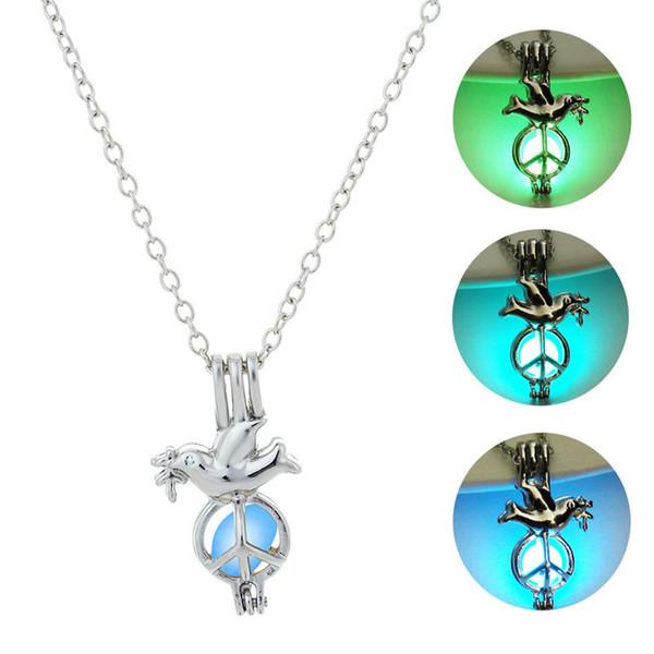 Жемчужная клетка светящееся ожерелье натуральный жемчуг с устрицей свечение в темном черепе олень Голубь дракон полый медальон ожерелье