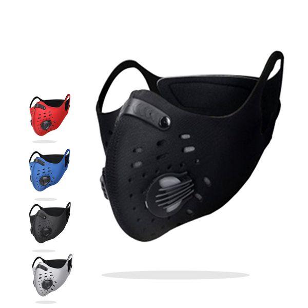 Charbon actif anti-poussière cyclisme masque facial anti-pollution vélo vélo filtre à air en plein air vélo earloop masques filtre valve