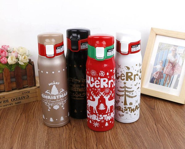 500ml Christmas water bottle Xmas Double wall print Stainless steel tumbler Vacuum Travel Sport Thermos flasks Coffee Cup Mug AN2582