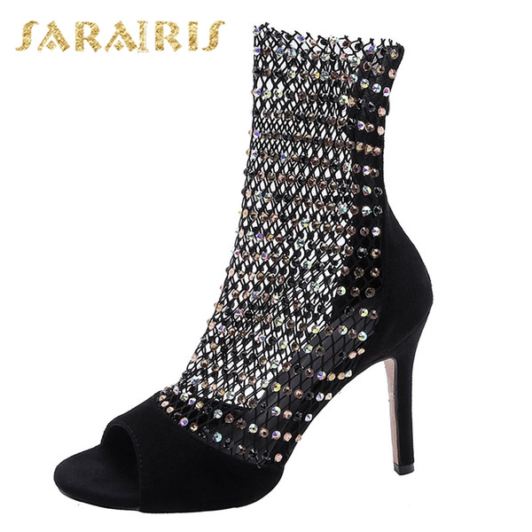 Sarairis 2019 Summer 10 Cm Thin Heels Crystal Boots Large Size 32-45 Women Shoes Sexy Flock Mesh Boots Shoes Woman