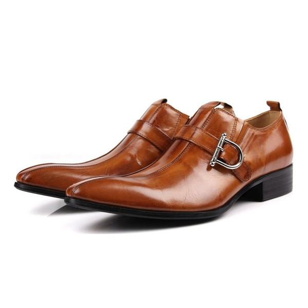 Luxury Italian Genuine Cow Leather Men Brown Black Wedding Oxford Shoes Buckle Office Suit Men's Dress Shoes JS-A0024