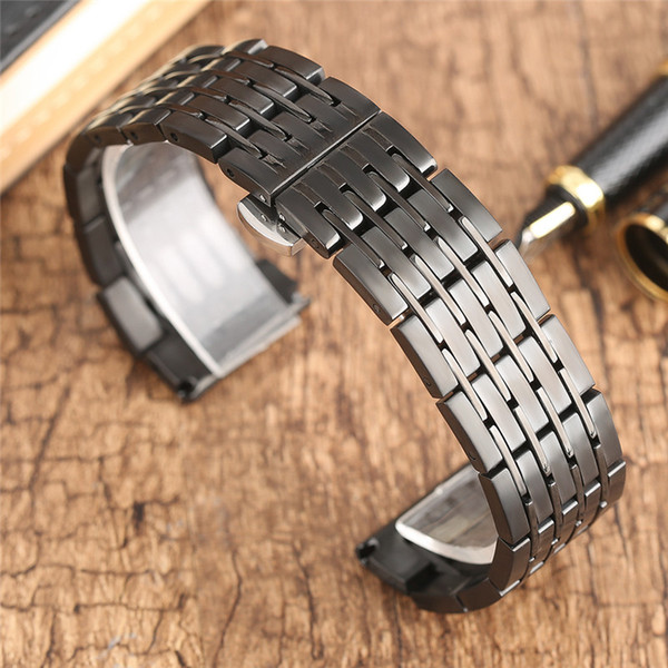 Correa de reloj 20mm 22 mm 24 mm Correa de reloj de acero Correa Hombres Mujeres Correas de reloj Pulsera para relojes Reloj Horas Pulsador Botón oculto