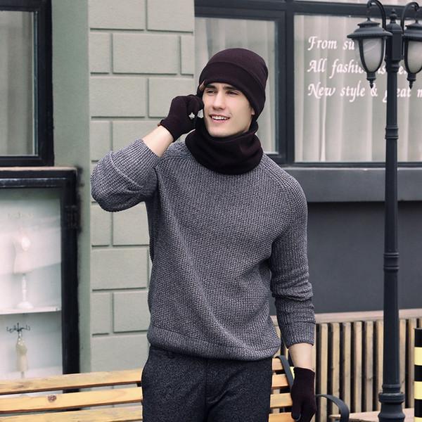 Шарф, Шляпа Перчатки Наборы Теплый Мужчины Шарфы Сенсорный Экран Пять Пальцев Перчатки Шапочки Для Мужчин Женщин Оптовая