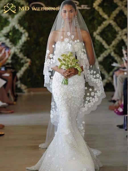 2018 Bridal Veil White/ivory 3m Long Wedding Veil Mantilla Wedding Accessories Veu De Noiva With Lace Flowers Beadwork Md3053 C19041101