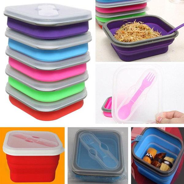 20 * 12 * 7cm Scatole di pranzo pieghevoli portatili all'aperto Silicon Microonde Stoviglie Lunchbox Ciotole Contenitore Baby Kids Box Piatti WX-C66 p