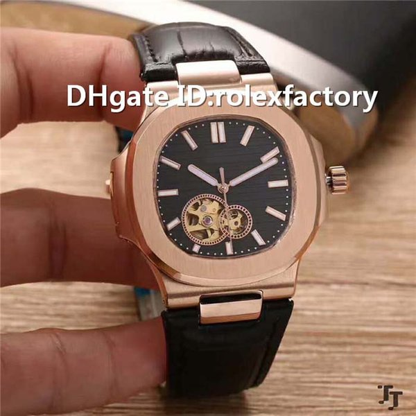 New Luxury Mens Watch Tourbillon Automatic Movement Sapphire Crystal Rose Gold Case calfskin strap transparent case back Watches