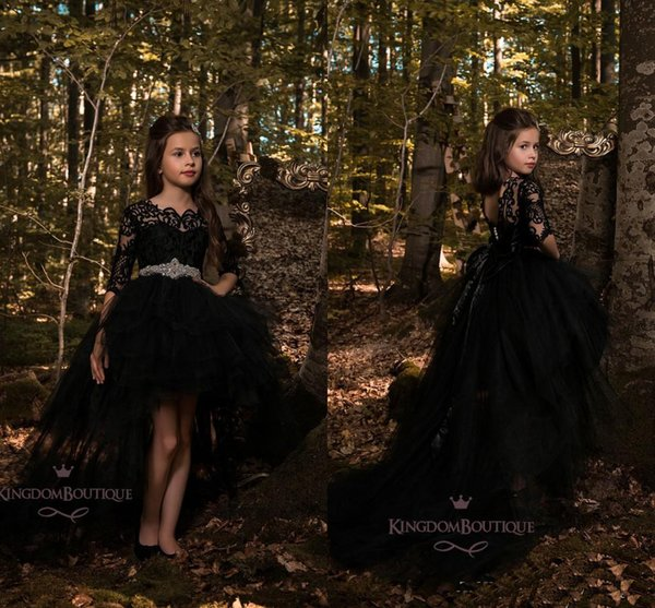 2019 New Wholesale Black Lace Designer Kids Dresses Tulle Jewel Neck Back Out Beaded Sash 3/4 Long Sleeve Girls High Low Party Gowns