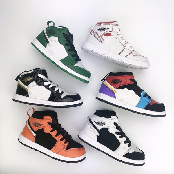 Дошкольное образование Подпись High OG 1 1s Молодежная детская баскетбольная обувь Chicago New Born Baby Детские кроссовки для малышей Маленькие большие мальчики