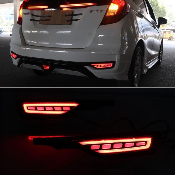 best selling 1 Pair For Honda Fit Jazz 2018 2019 12V Car LED Rear Fog Lamp Rear Bumper Light Brake Light Flowing Turn Signal Reflector
