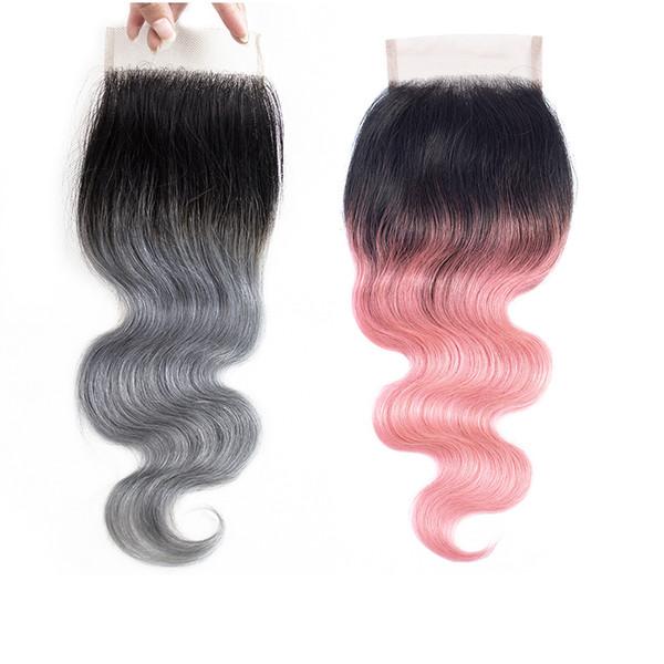 Ombre grigio pizzo chiusura 4x4 brasiliano remy dei capelli umani onda del corpo peruviano indiano malese estensioni dei capelli umani 12-14 pollici
