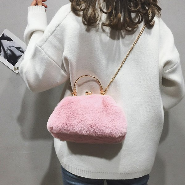 Rabbit Fur Women Evening Bags Fashion Luxurious Winter Fur Faux Small Day Clutches For Party Wedding Purse