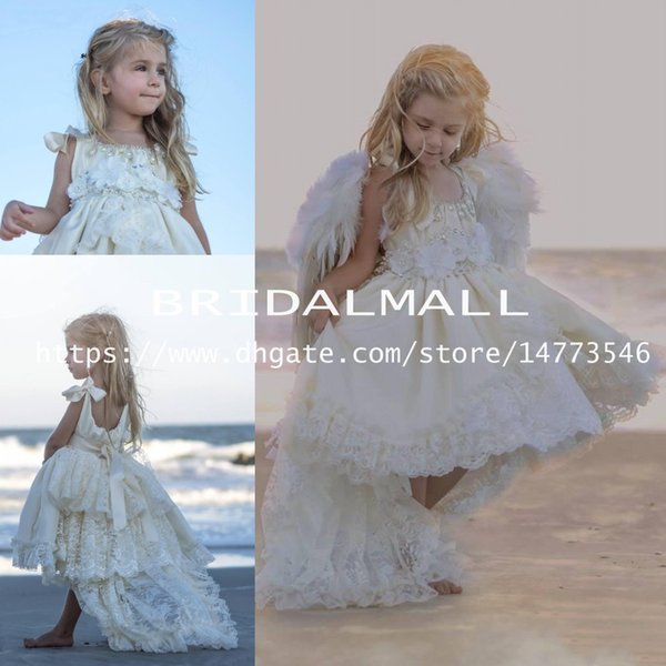 Lovely 2019 Beading Lace Flower Girls Dresses For Weddings High Low Beaded Princess Angel Pageant Girl Gown Kids Party First Communion Dress