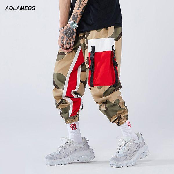 Aolamegs Men Side Strip Track Pants Pocket Pants Men Elastic Waist Sweatpants Casual Streetwear Hip Hop High Street