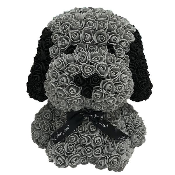 Bear Of Roses avec LED boîte-cadeau Ours en peluche Rose savon mousse fleur artificielle Cadeaux Nouvel An pour les femmes, Noir