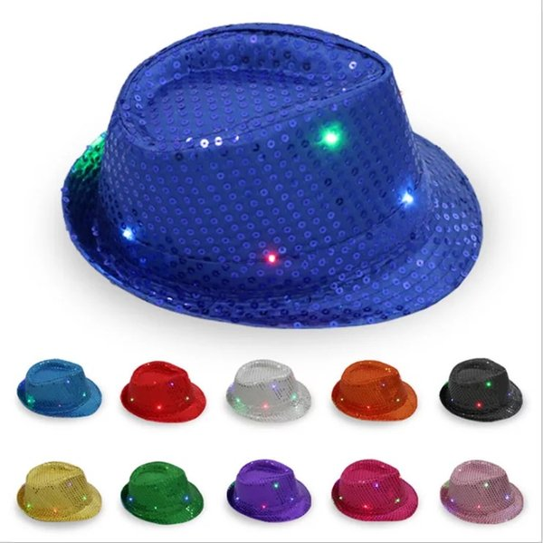 58cm Awesome LED Hat Glow Colorful Flash Adult Children Hats Cap Stage Performance Dance Party Paillette Jazz Fedora Props