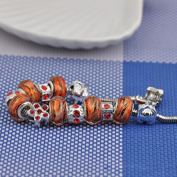 Jewelry Women Screw Bracelets Fit Pandora Stainless Steel Diamond Tennis Brown Crystal Glass Beads Bangle Bracciali