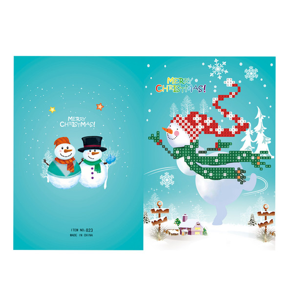 Merry Christmas Cards Diy Diamond Painting Handmade Cards Round Drill Greeting Rhinestones Embroidery Arts Crafts Gifts Christmas Birthday Cards