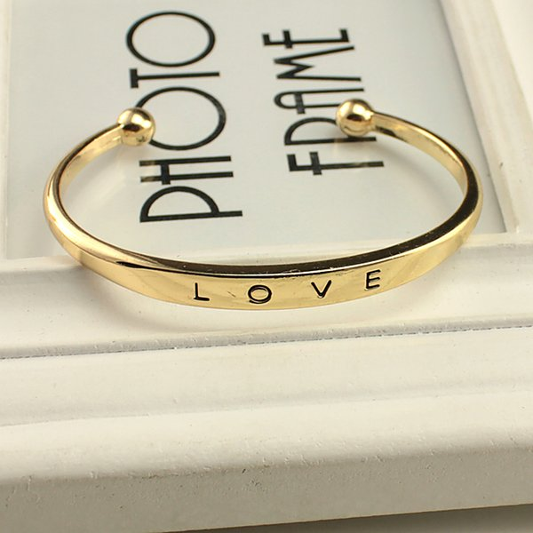 Fashion Alloy texture female minimalist love Bangles bracelets Gold Silver Rose Gold 3 colors Valentine's Day Gift