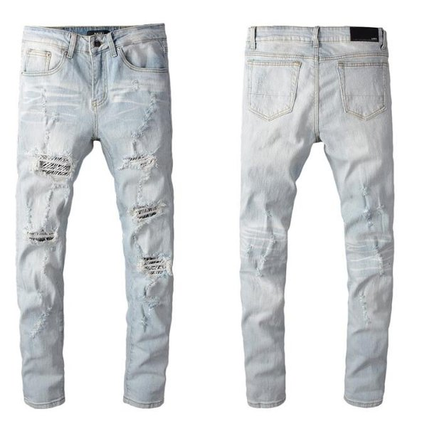 2019 Style Famous casual designers design Slim Motorcycle Bikerfashionable ripped jeans motorcycle summer trousers pencil cotton jeans 30083