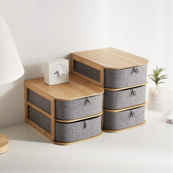Bamboo Oxford Storage Box Makeup Organizer Case Drawers Multilayer Home Storage Organizer Office Sundries Container Boxes