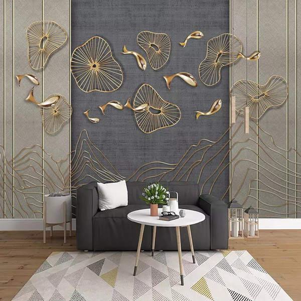 3D Stereo Gold metal fish line Wallpaper Custom New Chinese style Mural Large Wallpaper Living Room Sofa TV Background Wall Paper Art Decor