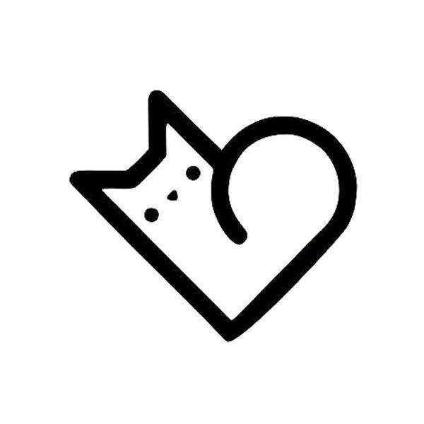 I Love My Cat Matte Black Car Window Vinyl Sticker Heart Cute Funny Personalized Decal Accessory Accessories