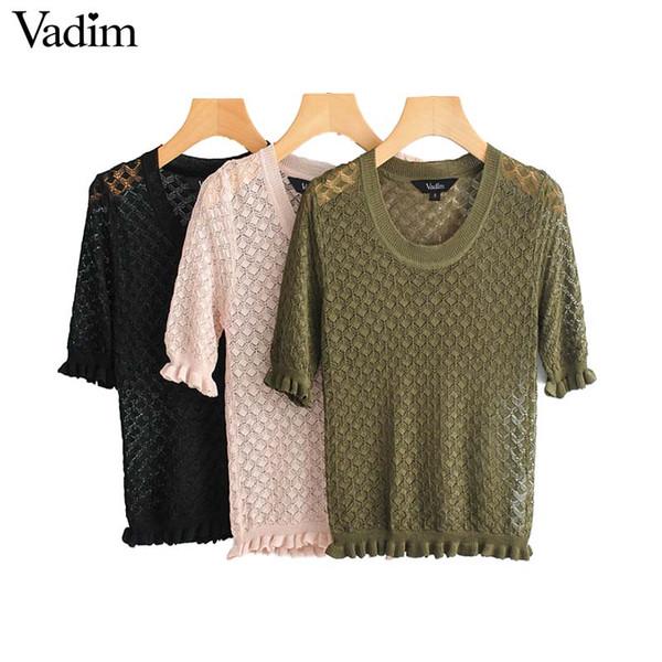 Vadim donna alla moda scava fuori crop crop top con balze nero rosa verde camicia chic casual donna basic top blusas DA469