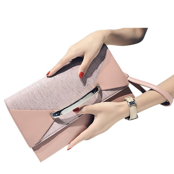 Envelope Clutch Bag Women Leather Birthday Party Evening Clutch Bags For Women Ladies Shoulder Bag Purse Female(Pink)