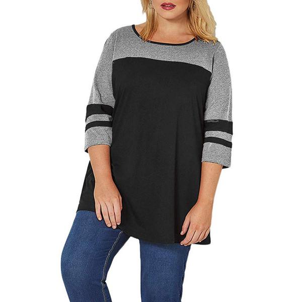 2019 Yaz T Gömlek Kadın 3/4 Kollu Çizgili T-Shirt Renk Bloğu Artı Boyutu Üstleri Tunik Kadın O Boyun Gevşek Üst Femme / PT