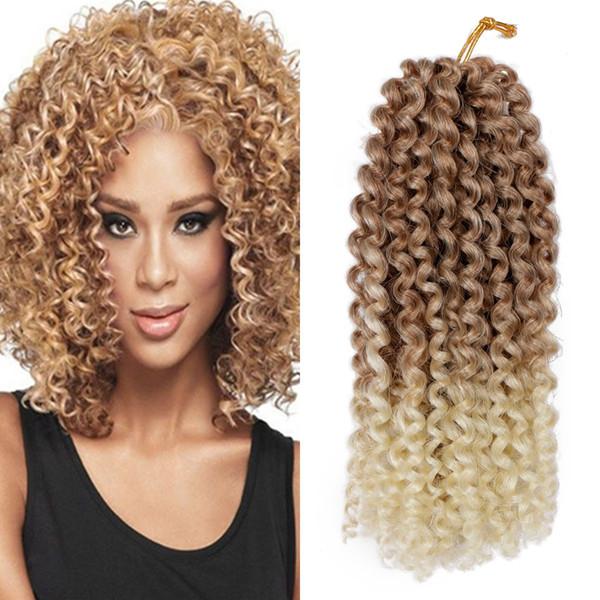 Chaud! Pleine tête Ombre Malibobo Crochet Tresse Cheveux Afro Kinky Curly Jerry Curl Tresses Kanekalon Synthétique Extension De Cheveux (8inches, 9Pcs / lot)