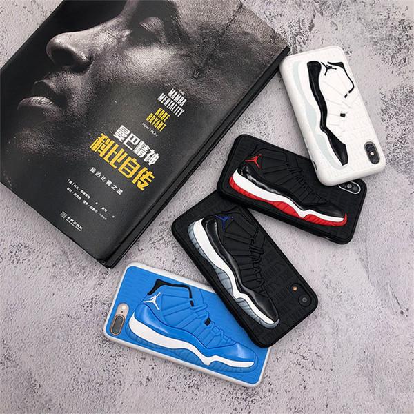 Custodia posteriore in silicone opaco per scarpe da basket modello 3D Cover in gomma sintetica per iPhone 6.5 6.1 6s 7 8 plus