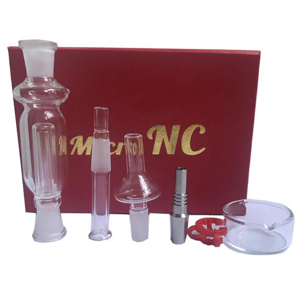 Nectar Collector 10mm kit Tuyaux En Verre Kits Avec Verre Sans Domeste Clou En Acier Inoxydable Pointe Huile Rigs Red Box DHL Gratuit Aux États-Unis