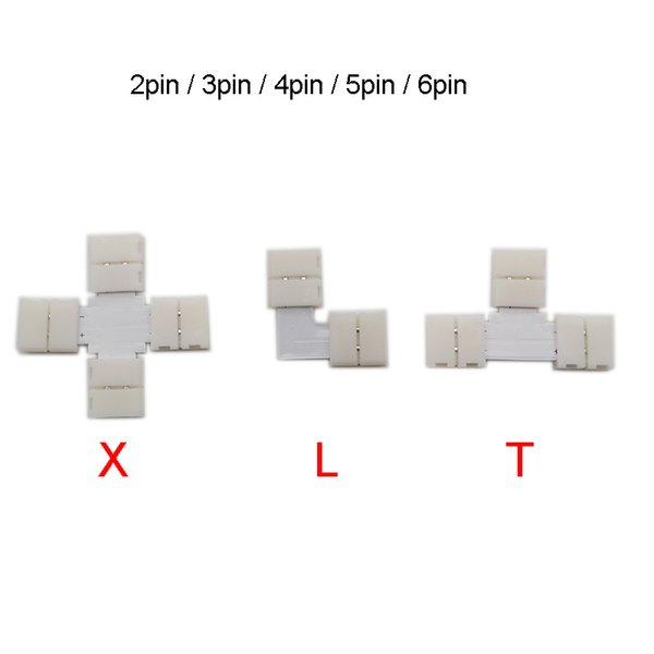 top popular Cheap Connectors 5set L T Shape 2 3 4 5pin 6pin LED Connector For connecting corner right angle 5050 SMD RGB RGBW 2021