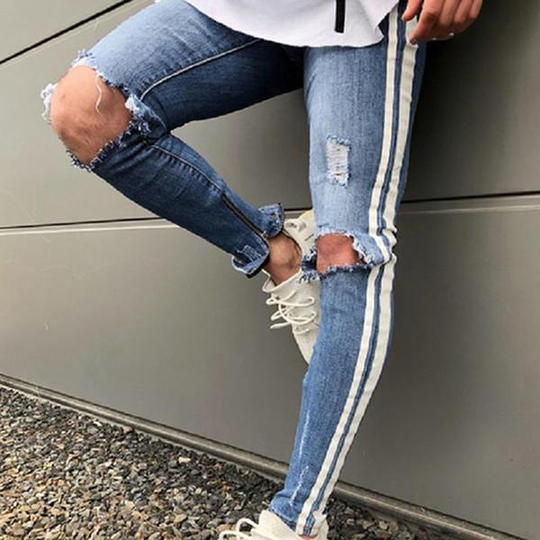 2019 Fashion Hip Hop Men Side White Print Strip Knee Holes Ripped Skinny Jeans Male Distressed Stretch Denim Pants Street Wear