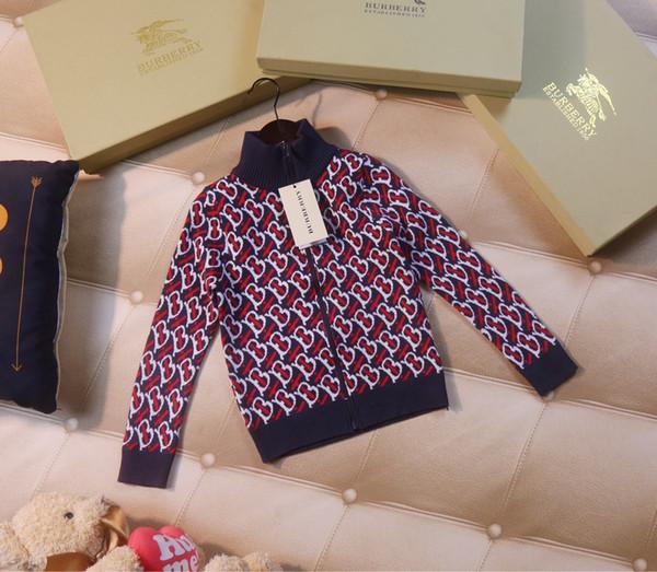 Children sweater kids designer clothing boys and girls autumn classic cover letter sweater cardigan zipper closure