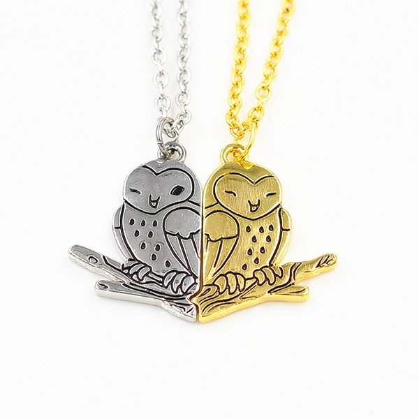 1 Pair Matching Owl Couple Necklace for Men and Women Couple Animal Pendant Necklace Jewelry