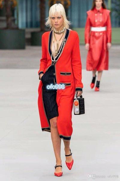Camisa de punto de las mujeres Negro y el contraste de color rojo raya de la impresión con cuello en V manga larga suéter tejido de punto de manga larga remata la camisa de la chaqueta de las nuevas mujeres