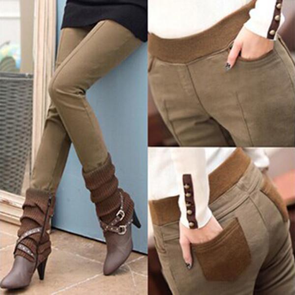 Pantalones de lápiz de las mujeres de cintura alta flaco negro grueso terciopelo cálido invierno Leggings Jeggings Legins Feminina pantalones