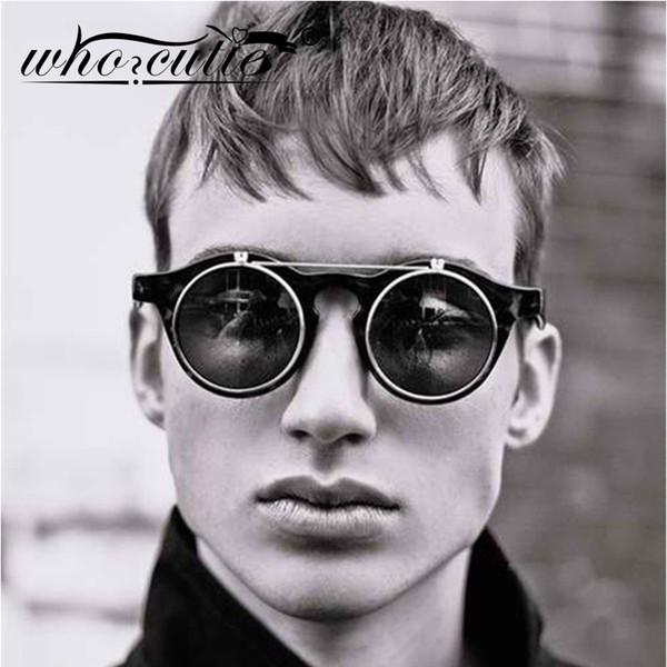 WHO CUTIE 2019 Mode Vintage Runde Steampunk Flip Up Sonnenbrille Männer Klassische Clamshell Design Sonnenbrille Clip auf Oculos S005