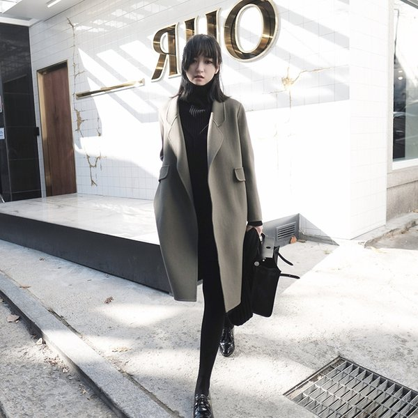 2019 new autumn and winter retro fashion temperament thickening coat woolen slim loose casual double-faced cashmere coat