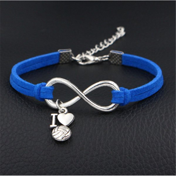 Silver Infinity Love I Heart Volleyball Pendant Charm Bracelets & Bangles Fashion Dark Blue Leather Suede Rope Women Men Jewelry Bijoux Gift