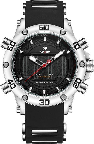 WEIDE Hombres Deporte Negocios Pantalla Movimiento LED Correa de silicona Cronógrafo Calendario completo Reloj Reloj impermeable
